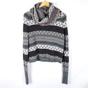 Anthro Kenji cowl neck cropped fair isle sweater